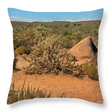 Indian Earth Shelter In The Desert Throw Pillow by John Malone