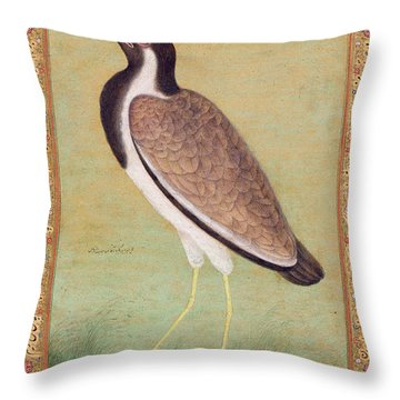 Indian Lapwing Throw Pillow by Mansur