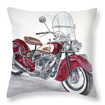 Indian Motorcycle Throw Pillow by Anthony Butera