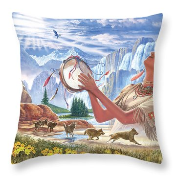 Indian Squaw And The Wolves Throw Pillow by Steve Crisp