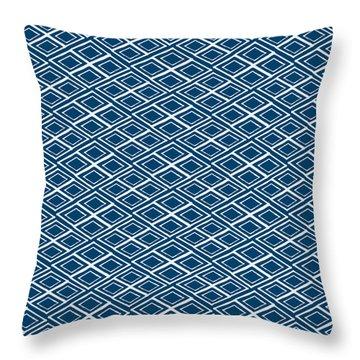 Indigo And White Small Diamonds- Pattern Throw Pillow by Linda Woods