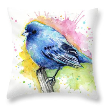 Indigo Bunting Blue Bird Watercolor Throw Pillow by Olga Shvartsur