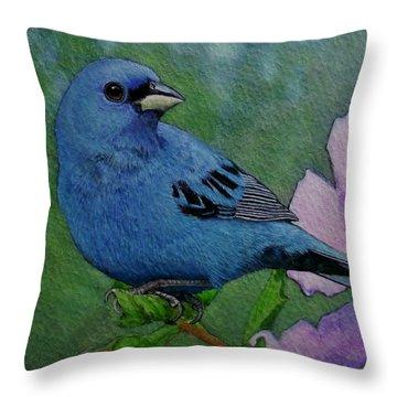 Indigo Bunting No 1 Throw Pillow by Ken Everett
