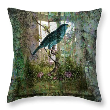 Indoor Garden With Bird Throw Pillow by Sarah Vernon