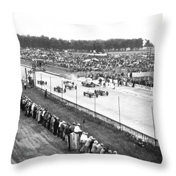 Indy 500 Auto Race Throw Pillow by Underwood Archives
