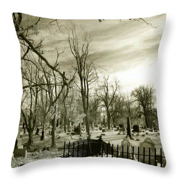 Infrared Cemetery Throw Pillow by Gothicolors Donna Snyder