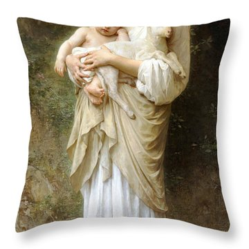 Innocence Throw Pillow by William Bouguereau