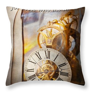 Inspirational - Time - A Look Back In Time - Da Vinci Throw Pillow by Mike Savad