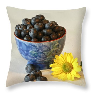 Inspired By Blue Berries Throw Pillow by Inspired Nature Photography Fine Art Photography