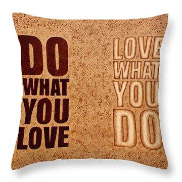 Inspiring Quote Original Coffee Painting Throw Pillow by Georgeta Blanaru