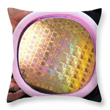 Throw Pillow featuring the photograph Integrated Circuits On Silicon Wafer by Science Source