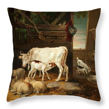Interior Of A Stable, 1810 Throw Pillow by James Ward