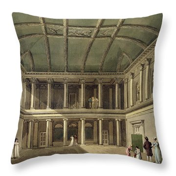 Interior Of Concert Room, From Bath Throw Pillow by John Claude Nattes
