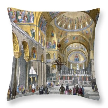 Interior Of San Marco Basilica, Looking Throw Pillow by Italian School