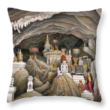 Interior Of The Grotto Of Nam Hou Throw Pillow by Louis Delaporte