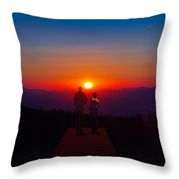 Into The Sunset Together Throw Pillow by John Haldane