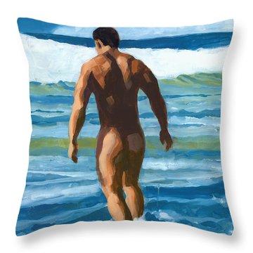 Into The Surf Throw Pillow by Douglas Simonson