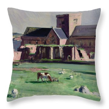 Iona Abbey From The Northwest Throw Pillow by Francis Campbell Boileau Cadell