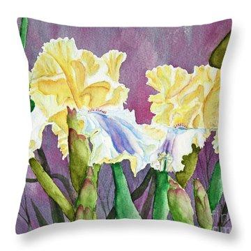 Iris Cream Duo Throw Pillow by Kathryn Duncan