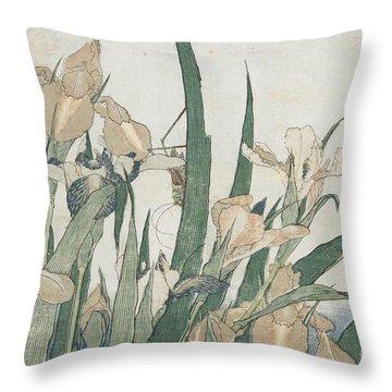 Iris Flowers And Grasshopper Throw Pillow by Hokusai