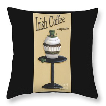 Irish Coffee Cupcake Throw Pillow by Catherine Holman