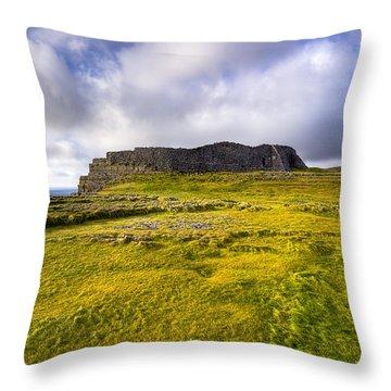 Iron Age Ruins Of Dun Aengus On The Irish Coast Throw Pillow by Mark E Tisdale