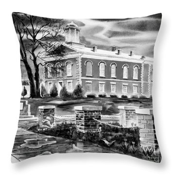 Iron County Courthouse IIi - Bw Throw Pillow by Kip DeVore