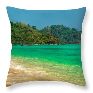 Island Longboats Throw Pillow by Adrian Evans