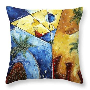 Island Martini  Original Madart Painting Throw Pillow by Megan Duncanson