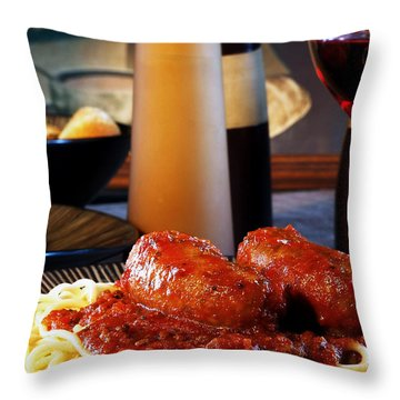 Italian Meal Throw Pillow by Camille Lopez
