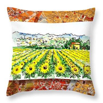 Italy Sketches Sunflowers Of Tuscany Throw Pillow by Irina Sztukowski