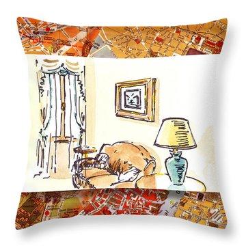 Italy Sketches Venice Hotel Throw Pillow by Irina Sztukowski