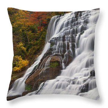 Ithaca Falls In Autumn Throw Pillow by Michele Steffey