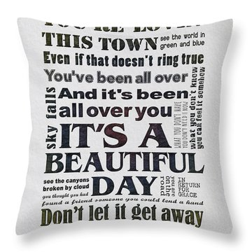 It's A Beautiful Day Typography Throw Pillow by Gyongyi Ladi