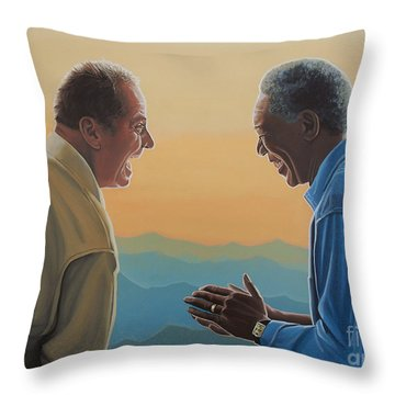 Jack Nicholson And Morgan Freeman Throw Pillow by Paul Meijering