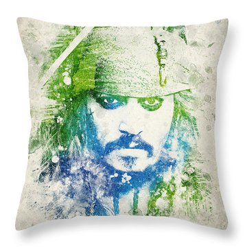 Jack Sparrow Throw Pillow by Aged Pixel