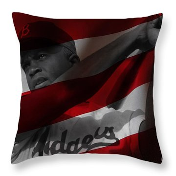 Jackie Robinson Number 42 Throw Pillow by Marvin Blaine