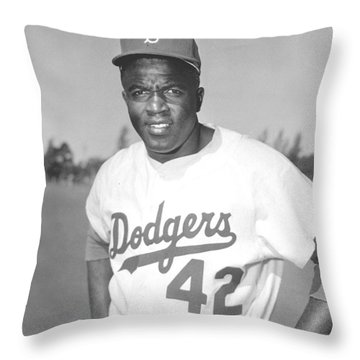 Jackie Robinson Poster Throw Pillow by Gianfranco Weiss