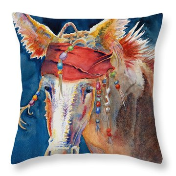 Jack Burro -  Donkey Throw Pillow by Deb  Harclerode