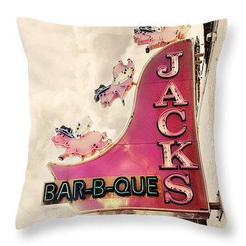 Jacks Bbq Throw Pillow by Amy Tyler