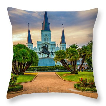 Jackson Square Cathedral Throw Pillow by Steve Harrington