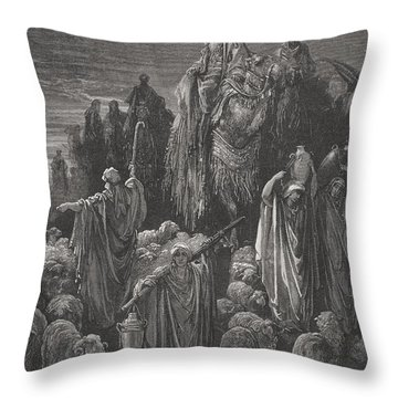 Jacob Goeth Into Egypt Throw Pillow by Gustave Dore