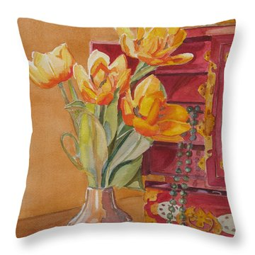 Jade And Tulips Throw Pillow by Jenny Armitage