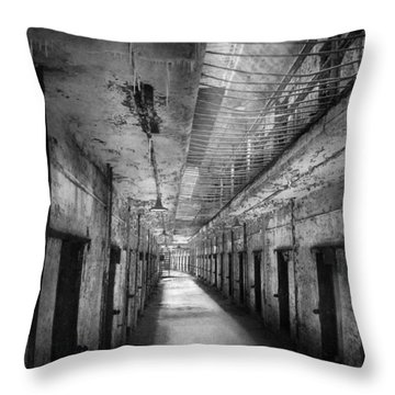 Jail - Eastern State Penitentiary - The Forgotten Ones  Throw Pillow by Mike Savad