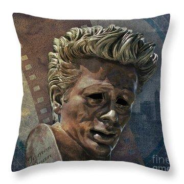 James Dean Throw Pillow by Bedros Awak