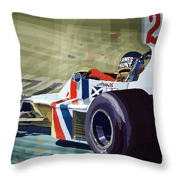 James Hunt 1975 Hesketh 308b Throw Pillow by Yuriy Shevchuk
