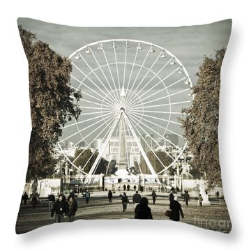 Jardin Des Tuileries Park Paris France Europe  Throw Pillow by Jon Boyes