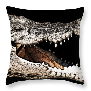 Jaws Throw Pillow by Douglas Barnard