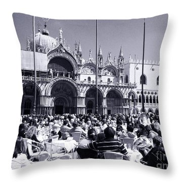 Jazz In Piazza San Marco Black And White  Throw Pillow by Ramona Matei