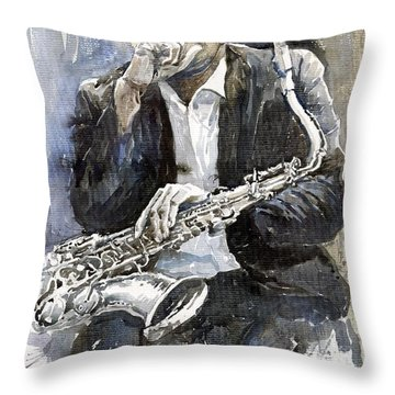 Jazz Saxophonist John Coltrane Yellow Throw Pillow by Yuriy  Shevchuk